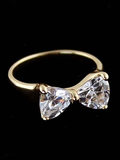 Gold Diamond Bow Ring