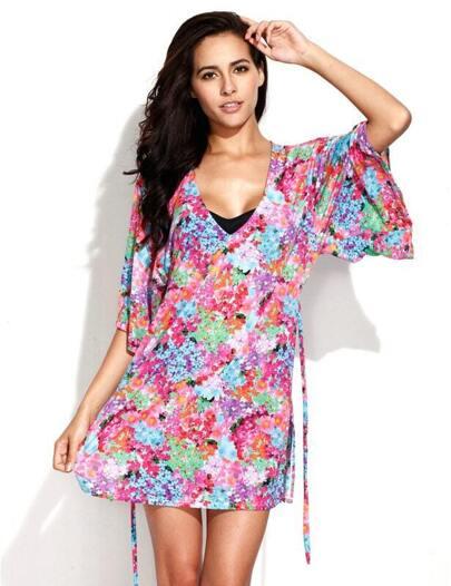 Digital Floral Print Beach Dress Beachwear Newest Modern Sexydress Swimdress