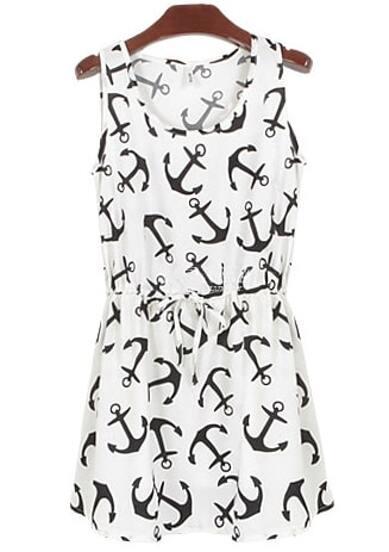 White Sleeveless Anchors Print Pleated Dress