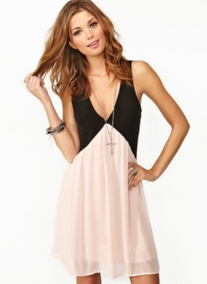 Black Pink Foam Deep V Neck Hollow Chiffon Dress