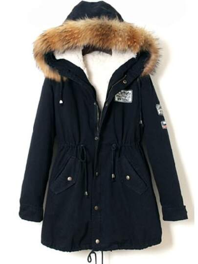 Navy Faux Fur Trim Hooded Drawstring Parka