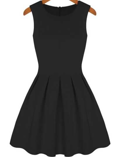 Black Round Neck Sleeveless Pleated Flare Dress