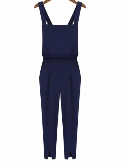 Navy Criss Cross Strap Split Jumpsuits