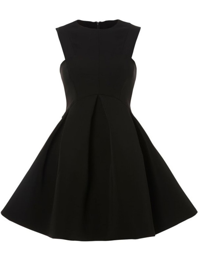 Black Round Neck Sleeveless Ruffle Flare Dress