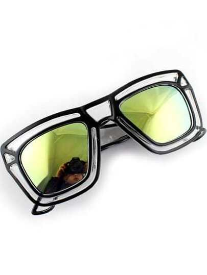 Gold Lenses Black Hollow Rim Sunglasses