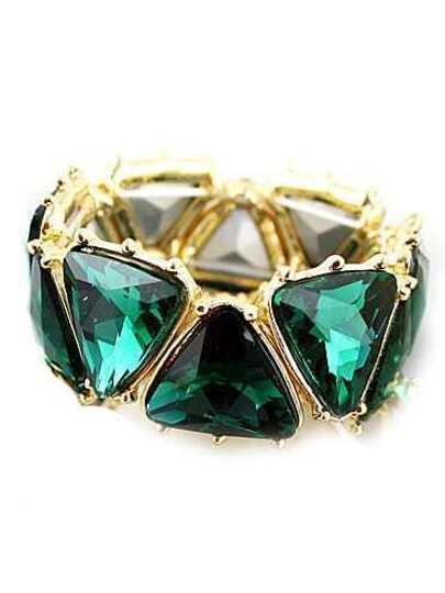 Green Gemstone Gold Geometric Bracelet