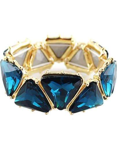 Blue Gemstone Gold Geometric Bracelet