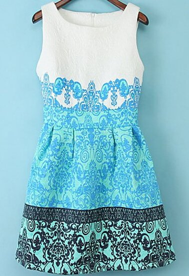 Blue Round Neck Sleeveless Flowered Floral Jacquard Motley Dress