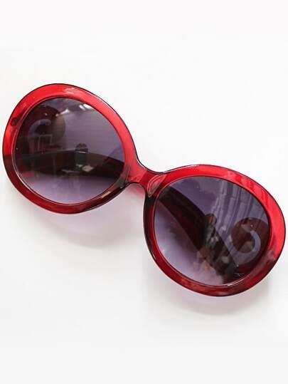 Purple Lenses Red Sleek Sunglasses