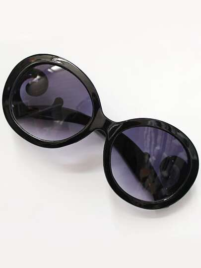 Purple Lenses Black Sleek Sunglasses