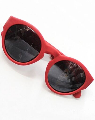 Black Lenses Red Round Sunglasses