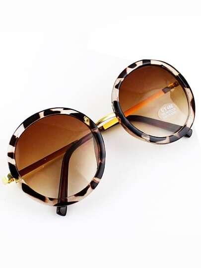 Yellow Round Lenses Leopard Sunglasses