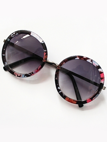 Purple Round Lenses Floral Sunglasses