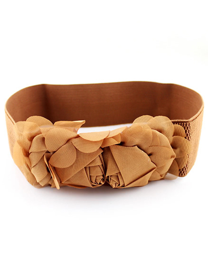 Brown Flower Embellished Elastic Belt
