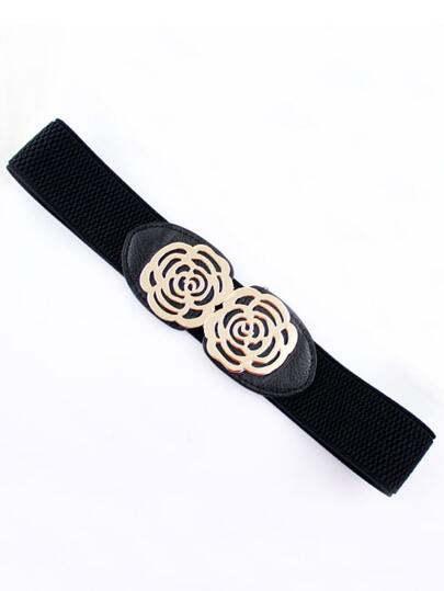 Black Metal Hollow Flower Elastic Belt