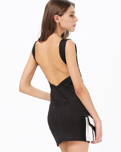 Black Sleeveless V Neck Backless Bandage Dress