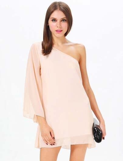Apricot One Shoulder Chiffon Dress