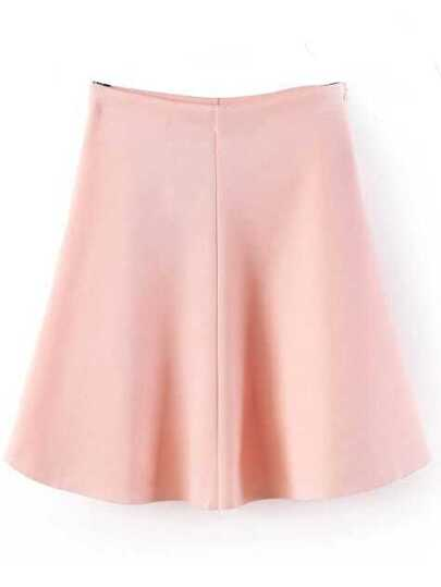 Pink High Waist Ruffle Skirt