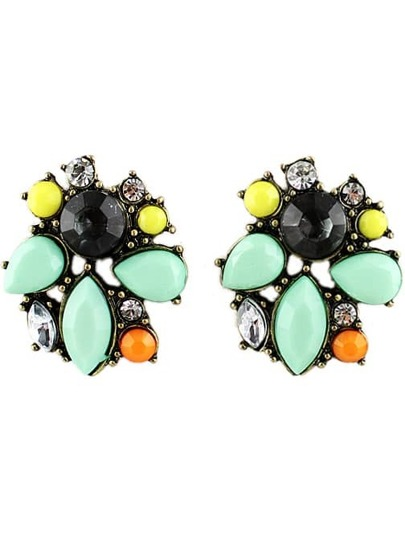 Green Gemstone Retro Gold Stud Earrings