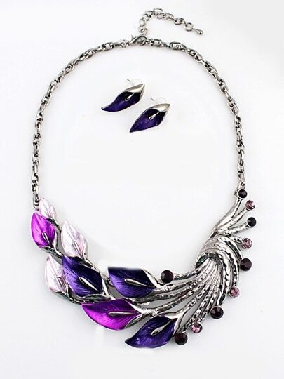 Purple Gemstone Silver Peacock Necklace With Earrings
