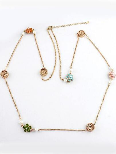 Gold Glaze Flowers Chain Necklace