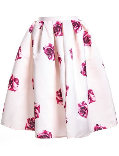 Apricot Rose Print Pleated Skirt