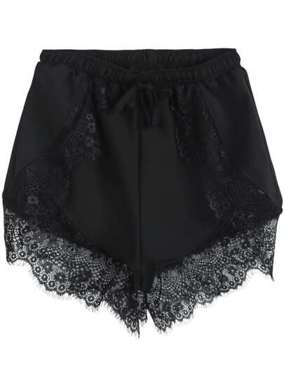 Black Elastic Waist Contrast Lace Shorts
