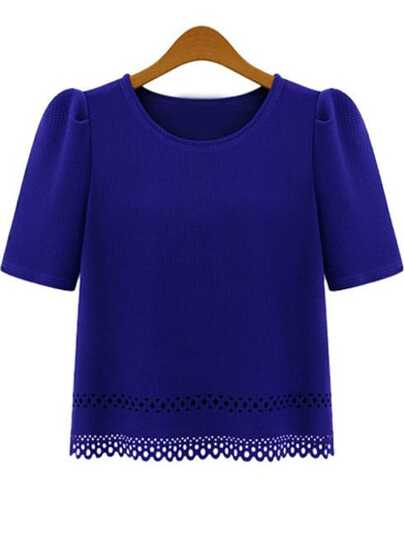 Blue Short Sleeve Hollow Chiffon Blouse