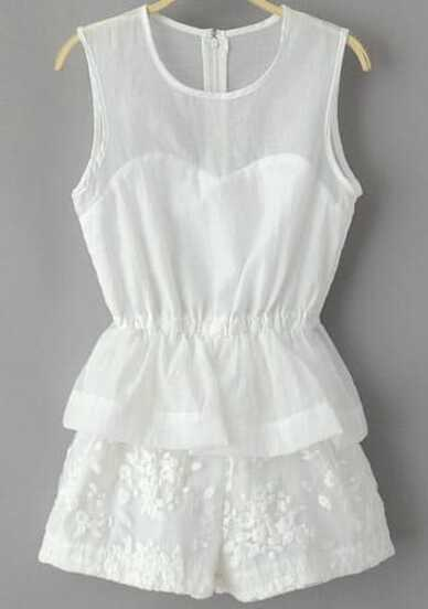 White Sleeveless Embroidered Chiffon Jumpsuit