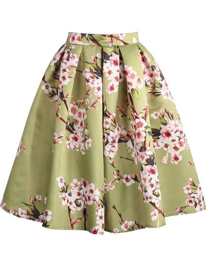 Green Floral Pleated Skirt
