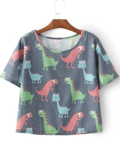 Camiseta dinosaurio Cartoon manga corta-gris