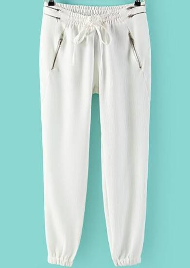 White Elastic Drawstring Waist Zipper Pant