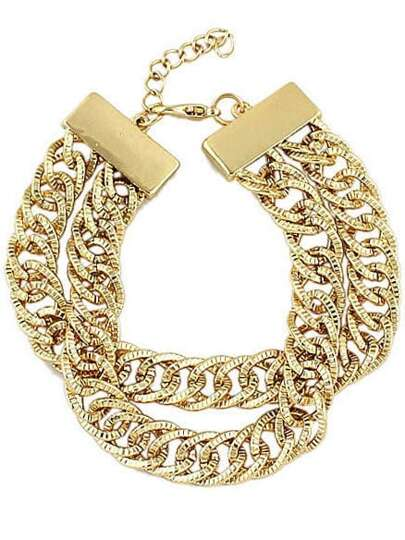 Gold Double Layers Chain Bracelet