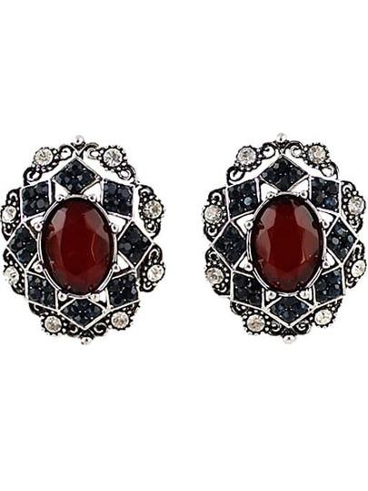 Red Black Gemstone Silver Hollow Earrings