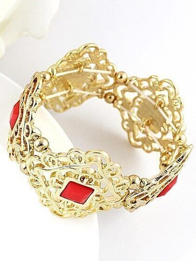 Red Gemstone Gold Hollow Bracelet