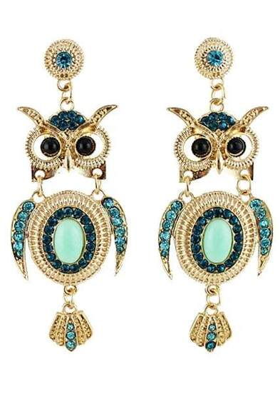 Green Diamond Gold Owl Earrings