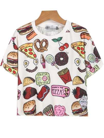 White Short Sleeve Fast Food Print T-Shirt