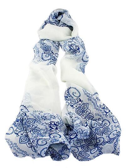 White Vintage Blue Floral Scarves