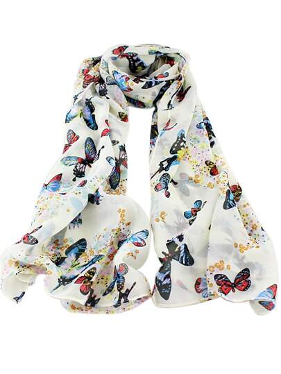 White Butterfly Print Scarves