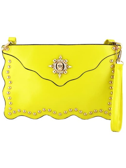 Yellow Skull Embellished Clutch Bag