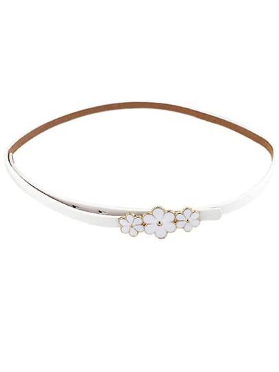 White Glaze Flowers Embellished Belt