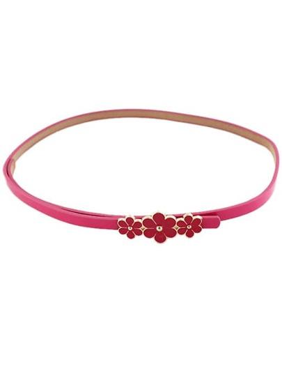 Red Glaze Flowers Embellished Belt