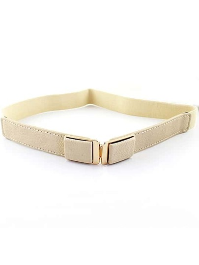 White Elastic Metal Buckle Belt