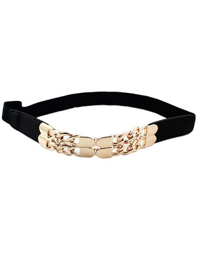 Black Elastic Metal Chain Belt