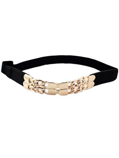Cinturón elástico cadena metal negro