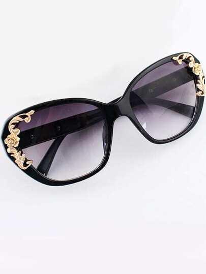 lunettes de soleil métallique motif fleur -Noir