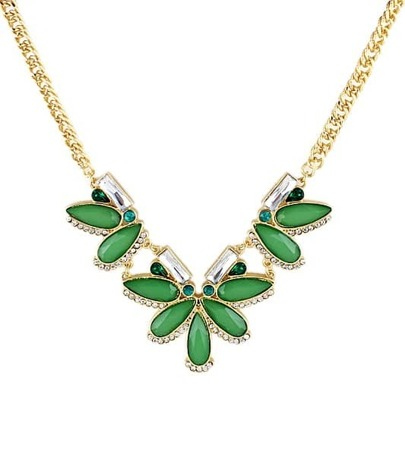 Green Drop Gemstone Gold Chain Necklace
