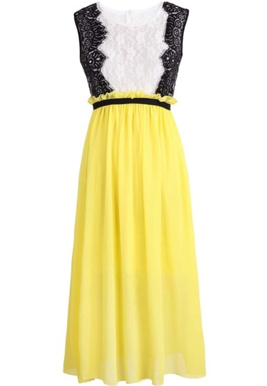 Yellow Sleeveless Lace Pleated Chiffon Dress