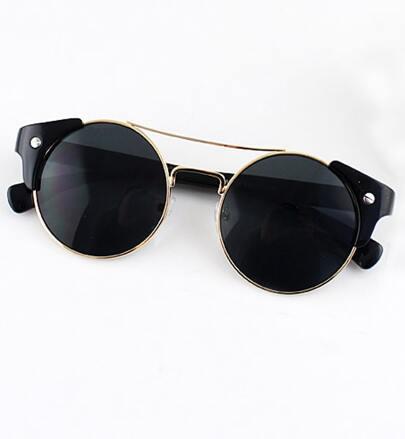 Black Lenses Gold Round Sunglasses