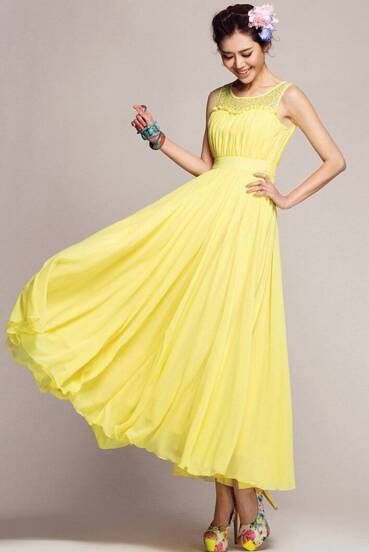 Yellow Sleeveless Lace Chiffon Pleated Dress